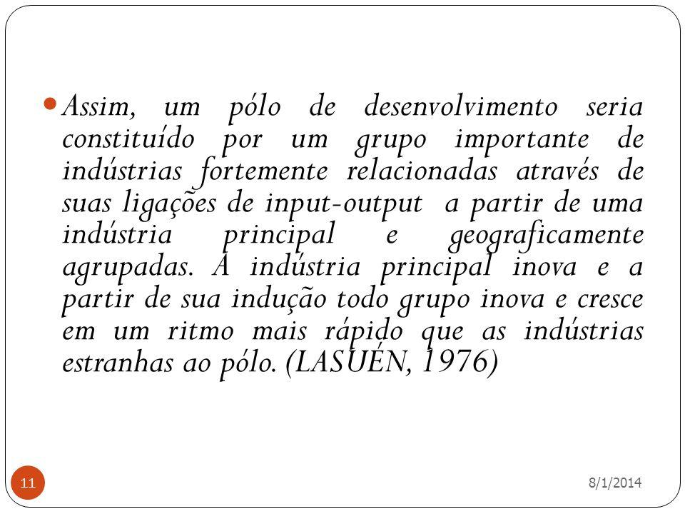 Assim, um pólo de desenvolvimento seria constituído por um grupo importante de indústrias fortemente relacionadas através de suas ligações de input-output a partir de uma indústria principal e geograficamente agrupadas. A indústria principal inova e a partir de sua indução todo grupo inova e cresce em um ritmo mais rápido que as indústrias estranhas ao pólo. (LASUÉN, 1976)