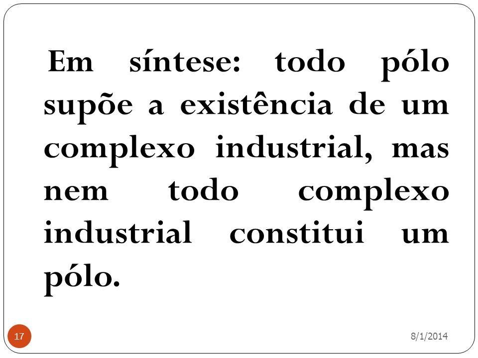 Em síntese: todo pólo supõe a existência de um complexo industrial, mas nem todo complexo industrial constitui um pólo.