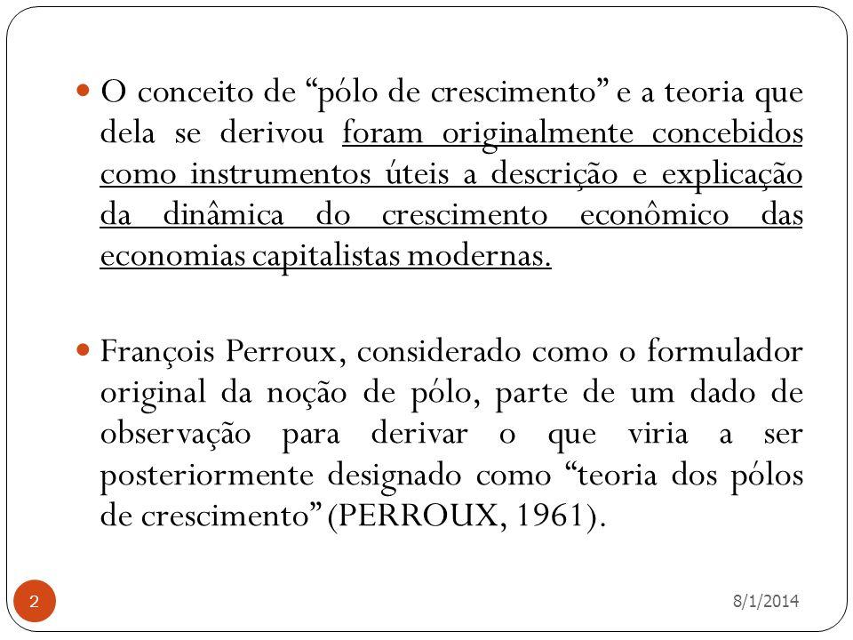 O conceito de pólo de crescimento e a teoria que dela se derivou foram originalmente concebidos como instrumentos úteis a descrição e explicação da dinâmica do crescimento econômico das economias capitalistas modernas.