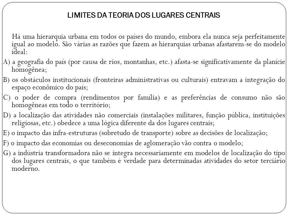 LIMITES DA TEORIA DOS LUGARES CENTRAIS