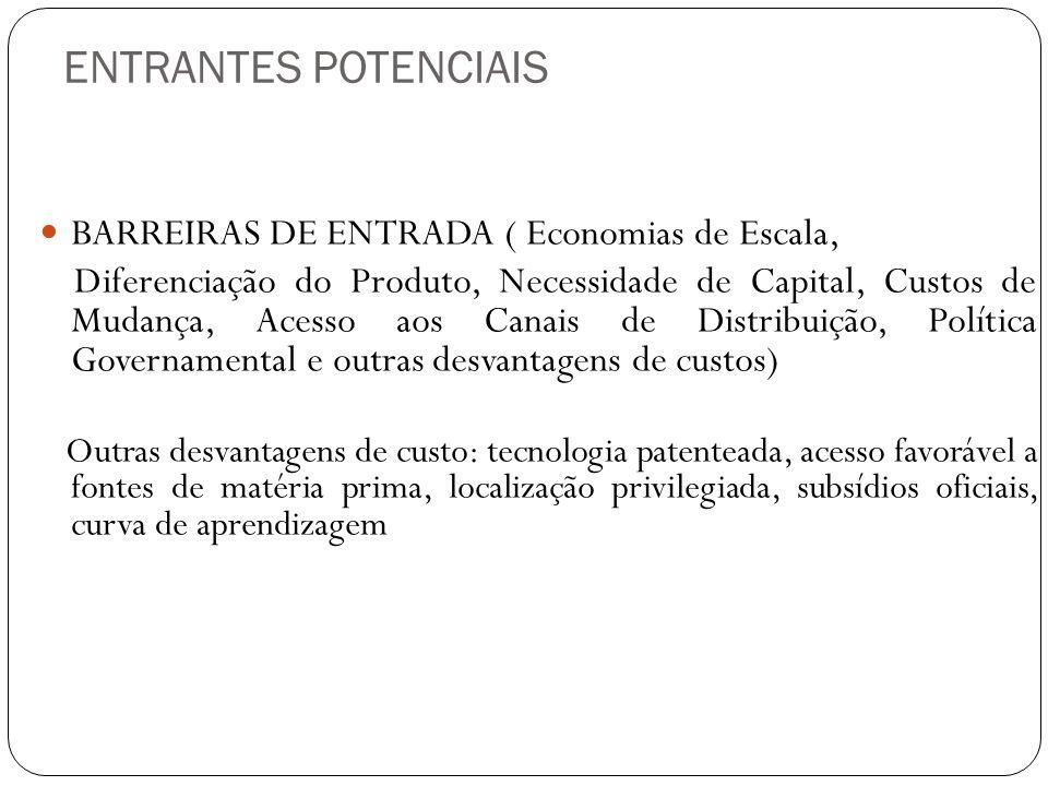 ENTRANTES POTENCIAIS BARREIRAS DE ENTRADA ( Economias de Escala,