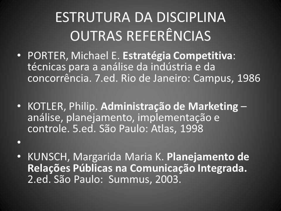 ESTRUTURA DA DISCIPLINA OUTRAS REFERÊNCIAS