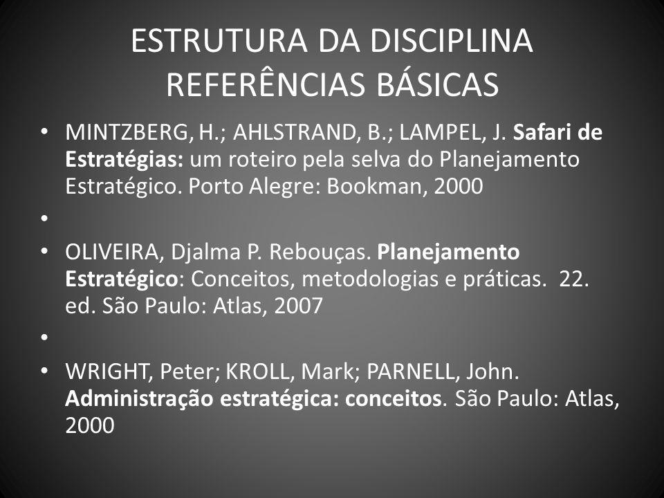 ESTRUTURA DA DISCIPLINA REFERÊNCIAS BÁSICAS