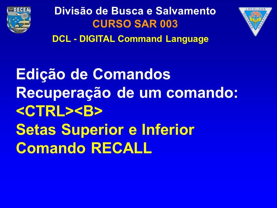 Recuperação de um comando: <CTRL><B>