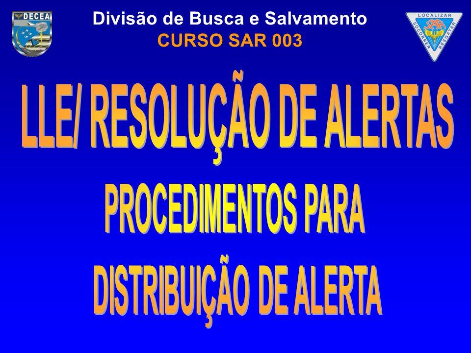 LLE/ Resolução de alertas distribuição de alerta
