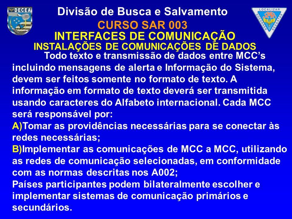 INTERFACES DE COMUNICAÇÃO INSTALAÇÕES DE COMUNICAÇÕES DE DADOS