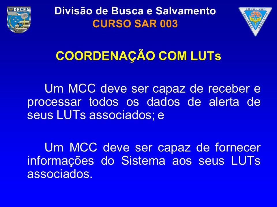 COORDENAÇÃO COM LUTs Um MCC deve ser capaz de receber e processar todos os dados de alerta de seus LUTs associados; e.