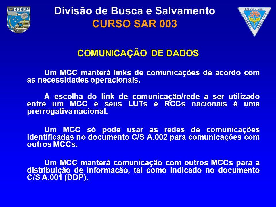 COMUNICAÇÃO DE DADOS Um MCC manterá links de comunicações de acordo com as necessidades operacionais.