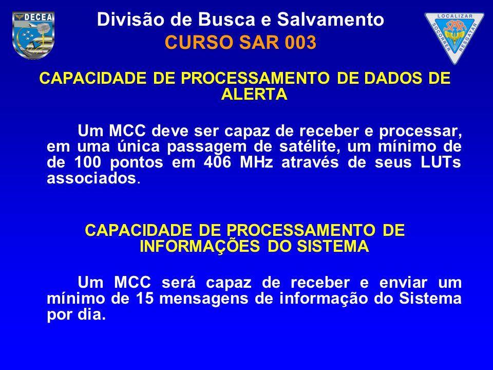 CAPACIDADE DE PROCESSAMENTO DE DADOS DE ALERTA