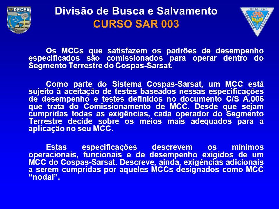 Os MCCs que satisfazem os padrões de desempenho especificados são comissionados para operar dentro do Segmento Terrestre do Cospas-Sarsat.