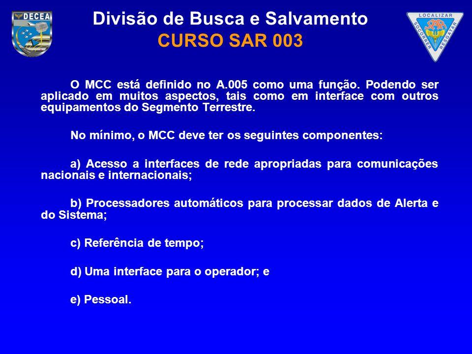 O MCC está definido no A. 005 como uma função