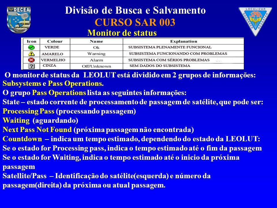 Monitor de status O monitor de status da LEOLUT está dividido em 2 grupos de informações: Subsystems e Pass Operations.