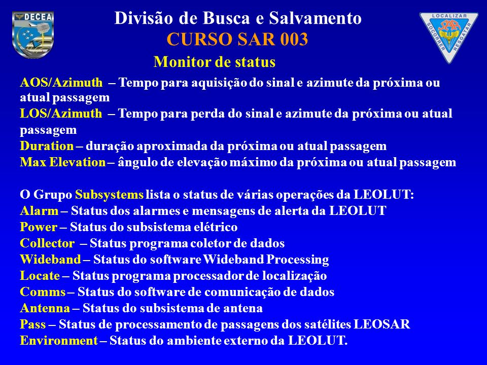 Monitor de status AOS/Azimuth – Tempo para aquisição do sinal e azimute da próxima ou atual passagem.