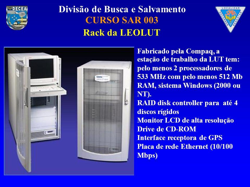 Rack da LEOLUT Fabricado pela Compaq, a estação de trabalho da LUT tem: