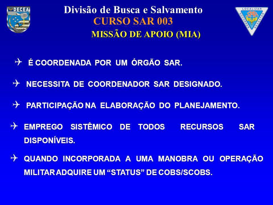 MISSÃO DE APOIO (MIA) É COORDENADA POR UM ÓRGÃO SAR.