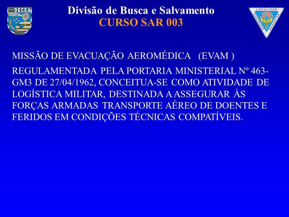 MISSÃO DE EVACUAÇÃO AEROMÉDICA (EVAM )