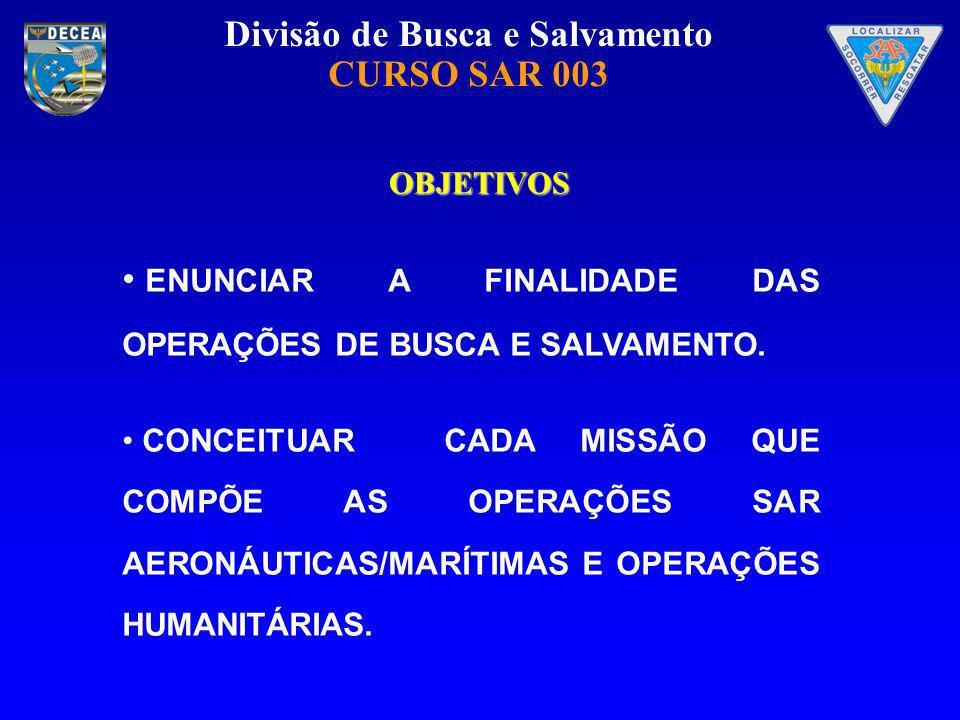 ENUNCIAR A FINALIDADE DAS OPERAÇÕES DE BUSCA E SALVAMENTO.