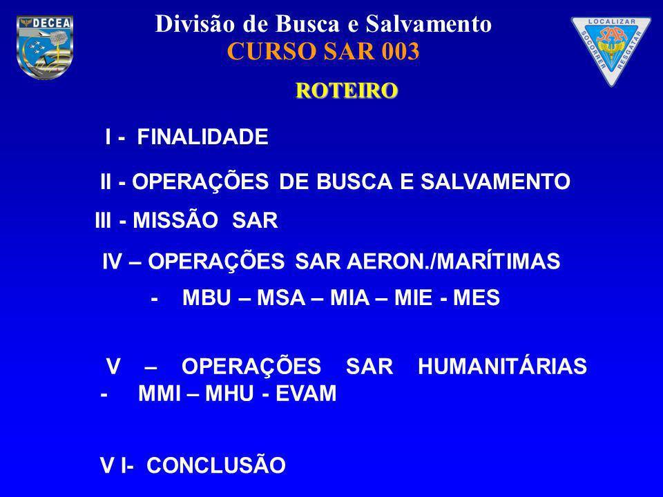 ROTEIRO I - FINALIDADE. II - OPERAÇÕES DE BUSCA E SALVAMENTO. III - MISSÃO SAR. IV – OPERAÇÕES SAR AERON./MARÍTIMAS.