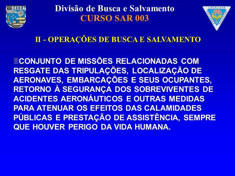 II - OPERAÇÕES DE BUSCA E SALVAMENTO