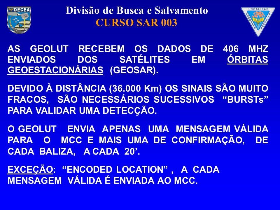AS GEOLUT RECEBEM OS DADOS DE 406 MHZ ENVIADOS DOS SATÉLITES EM ÓRBITAS GEOESTACIONÁRIAS (GEOSAR).