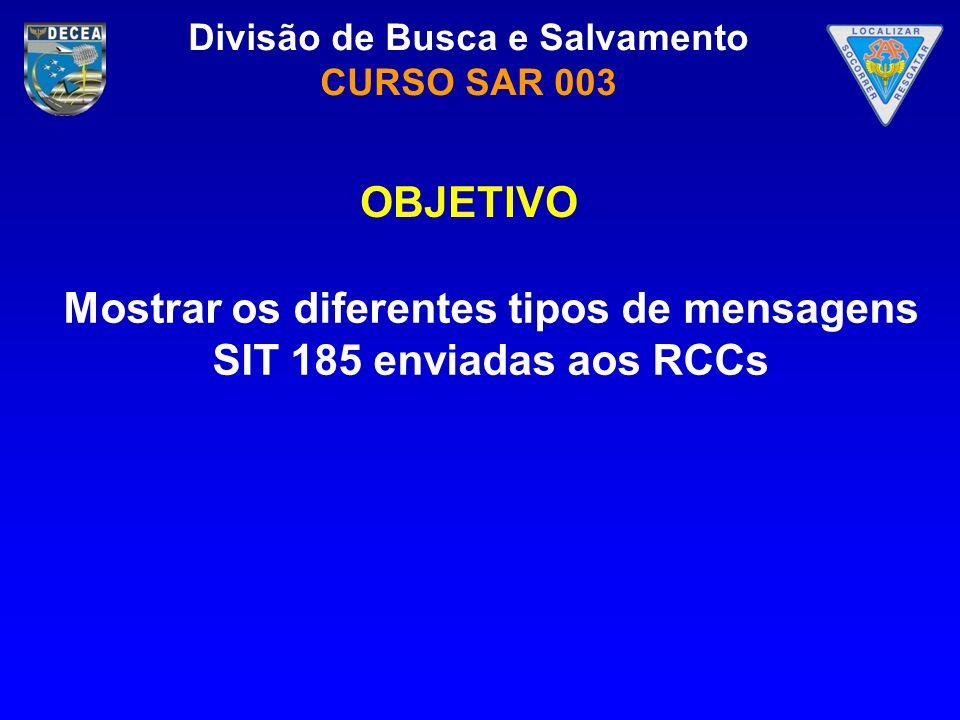 Mostrar os diferentes tipos de mensagens SIT 185 enviadas aos RCCs