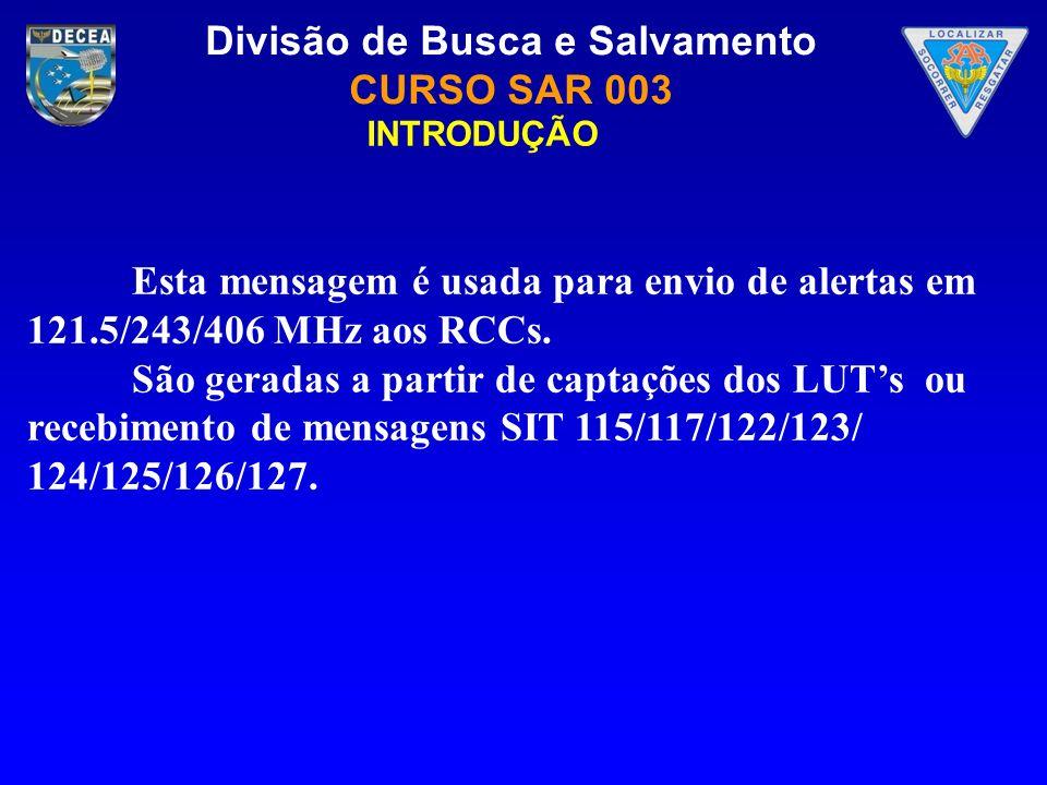 INTRODUÇÃO Esta mensagem é usada para envio de alertas em 121.5/243/406 MHz aos RCCs.