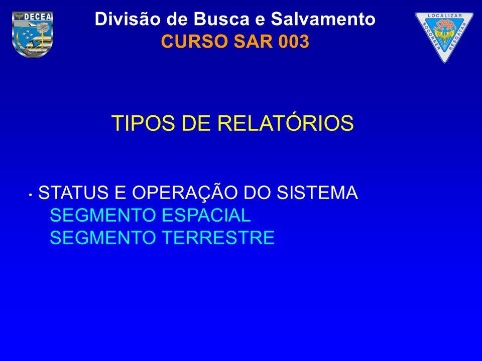 TIPOS DE RELATÓRIOS STATUS E OPERAÇÃO DO SISTEMA SEGMENTO ESPACIAL