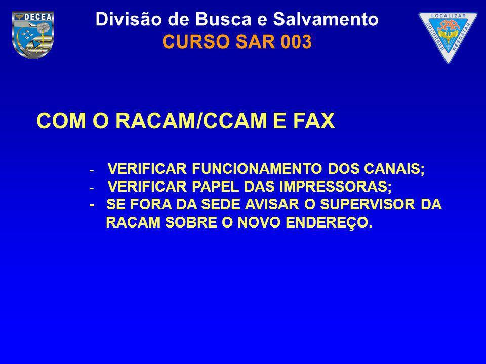 COM O RACAM/CCAM E FAX - VERIFICAR FUNCIONAMENTO DOS CANAIS;