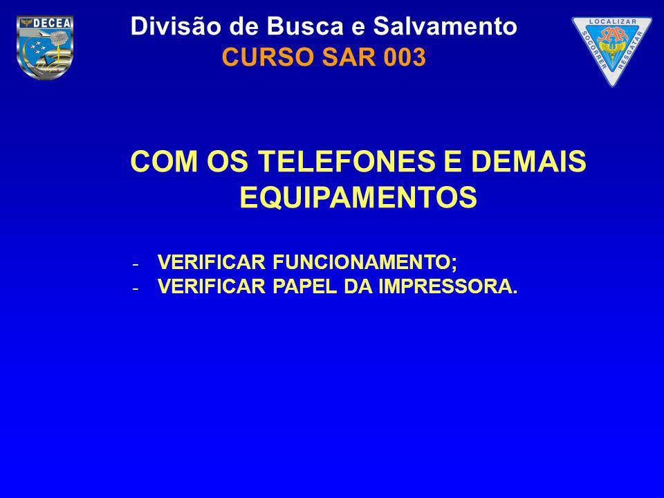 COM OS TELEFONES E DEMAIS EQUIPAMENTOS