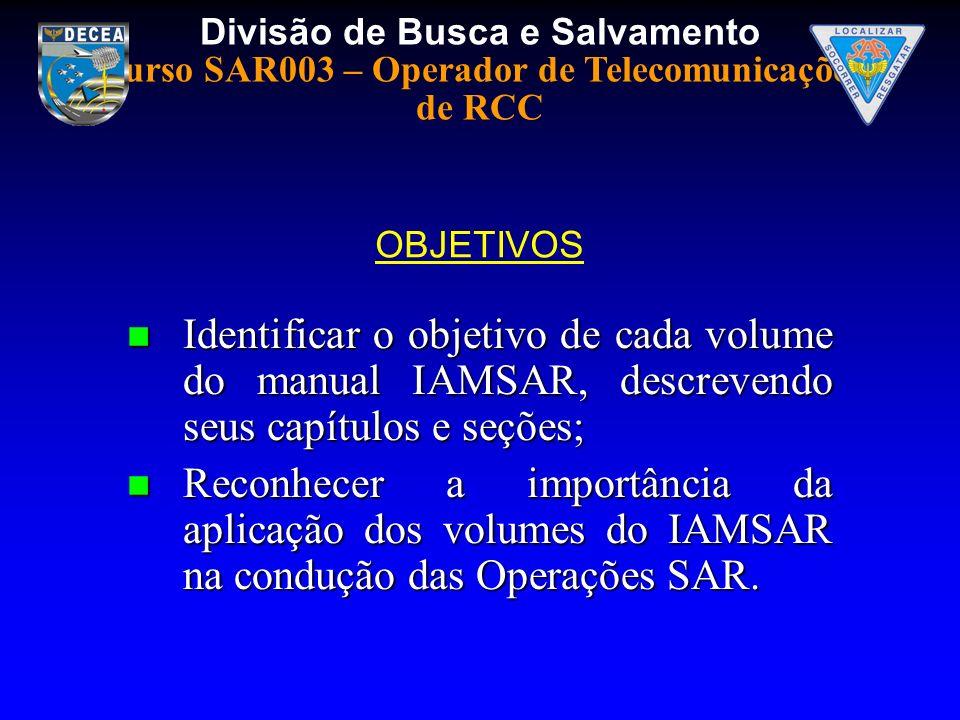 OBJETIVOSIdentificar o objetivo de cada volume do manual IAMSAR, descrevendo seus capítulos e seções;