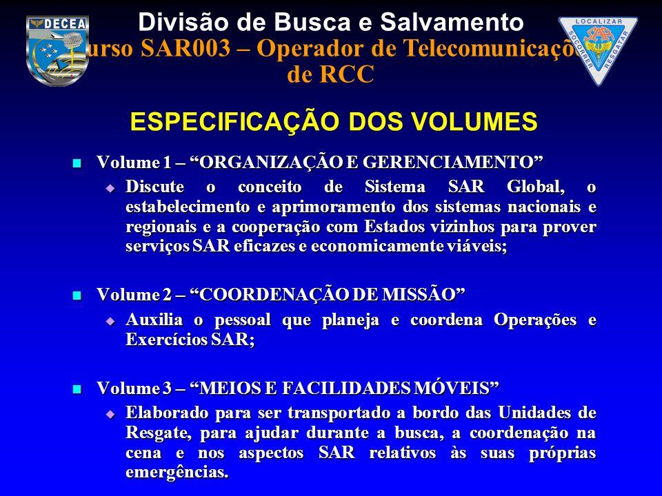 ESPECIFICAÇÃO DOS VOLUMES