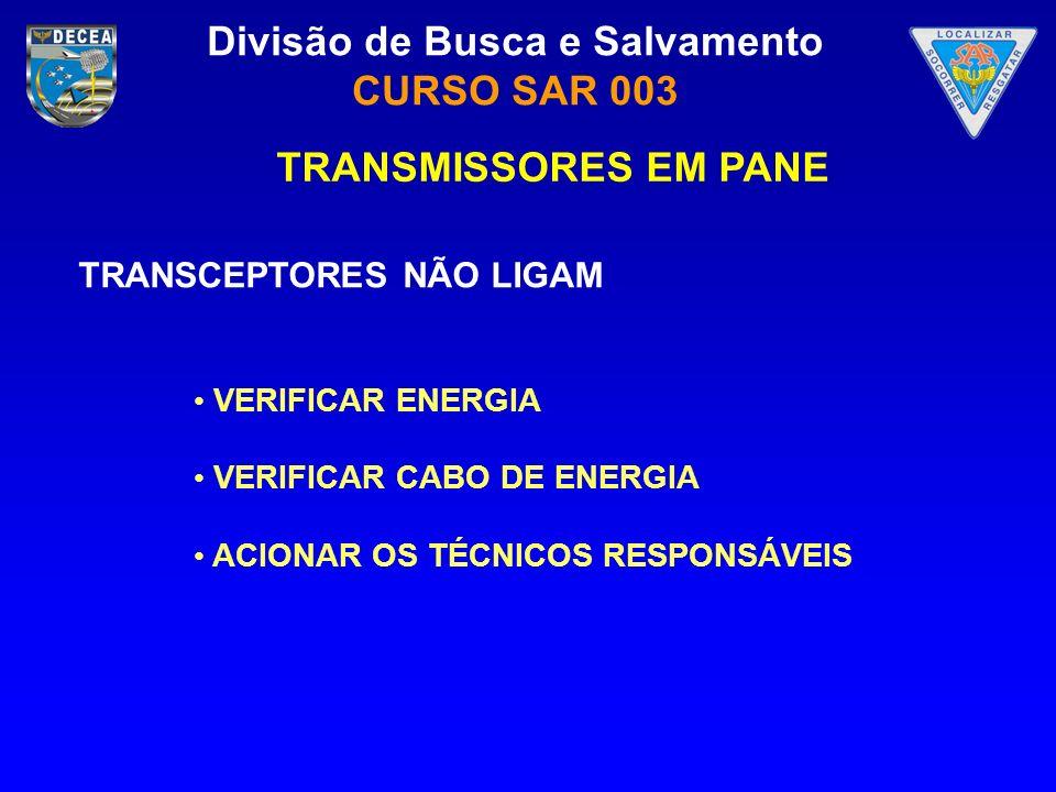 TRANSMISSORES EM PANE TRANSCEPTORES NÃO LIGAM VERIFICAR ENERGIA