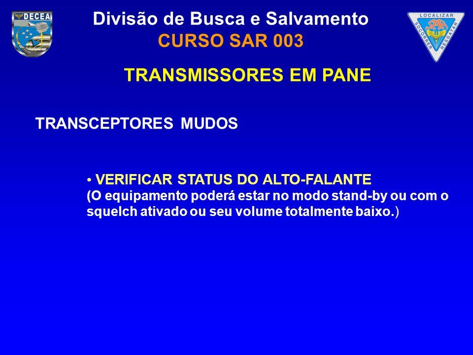 TRANSMISSORES EM PANE TRANSCEPTORES MUDOS