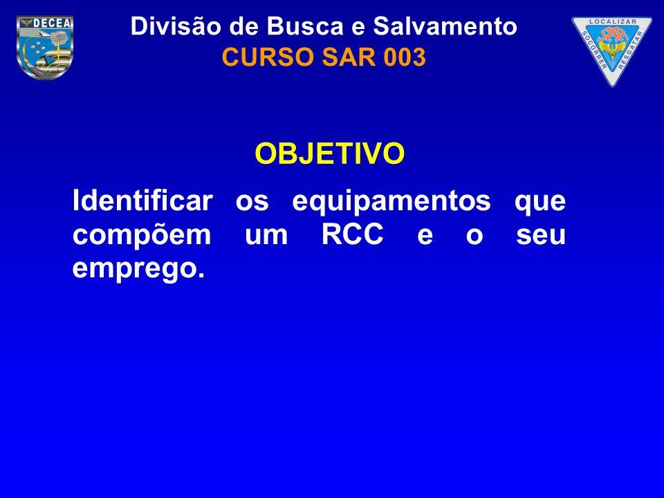 OBJETIVO Identificar os equipamentos que compõem um RCC e o seu emprego.