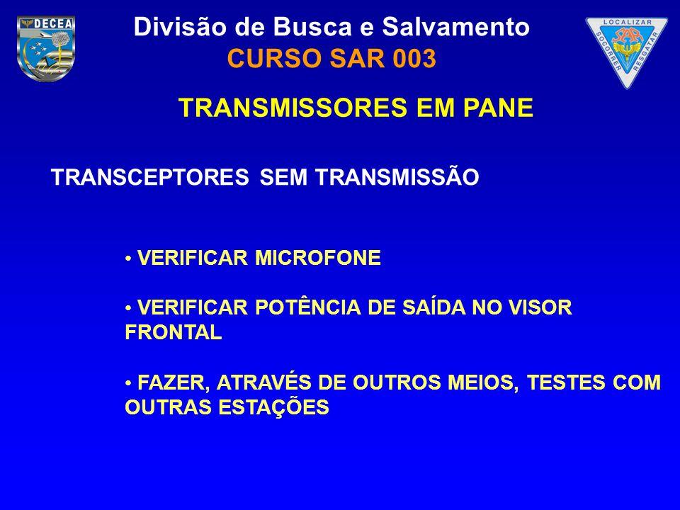 TRANSMISSORES EM PANE TRANSCEPTORES SEM TRANSMISSÃO