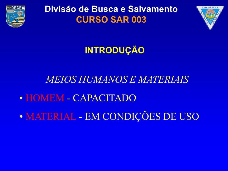 MEIOS HUMANOS E MATERIAIS