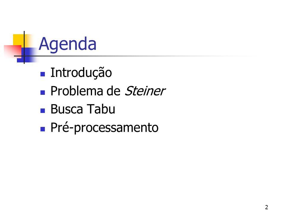 Agenda Introdução Problema de Steiner Busca Tabu Pré-processamento