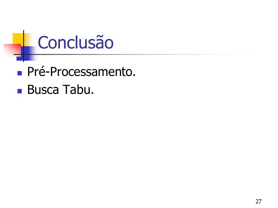 Conclusão Pré-Processamento. Busca Tabu.