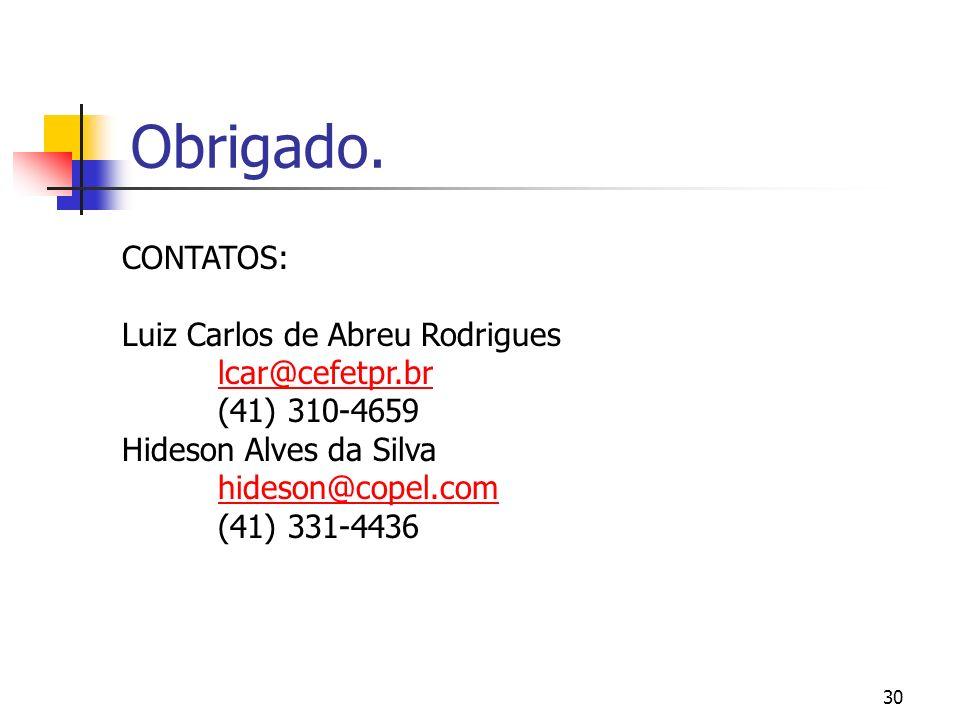 Obrigado. CONTATOS: Luiz Carlos de Abreu Rodrigues lcar@cefetpr.br