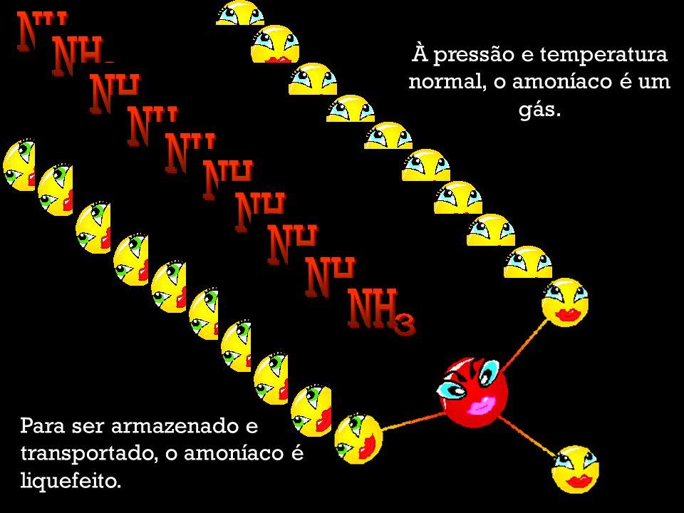 À pressão e temperatura normal, o amoníaco é um gás.