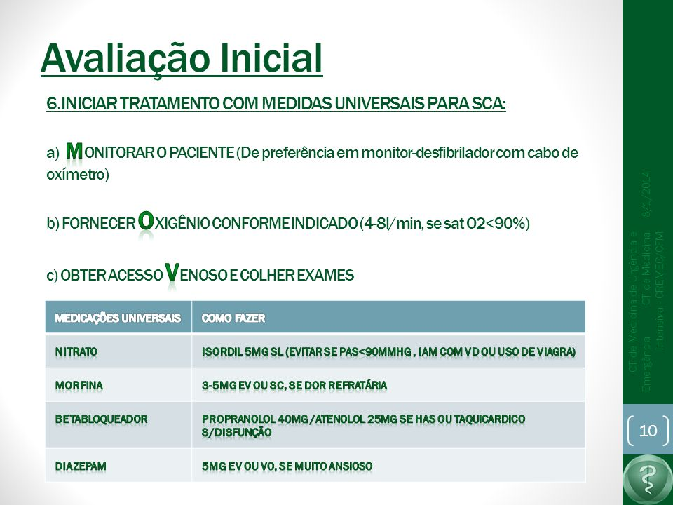 Avaliação Inicial 6.INICIAR TRATAMENTO COM MEDIDAS UNIVERSAIS PARA SCA: