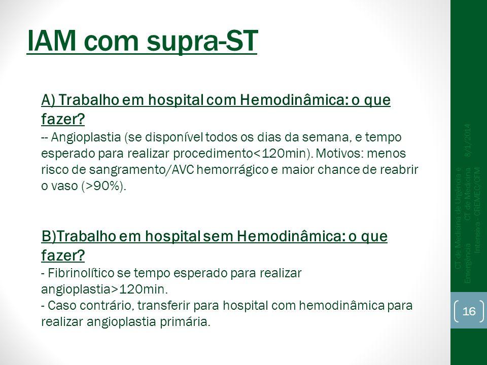 IAM com supra-ST A) Trabalho em hospital com Hemodinâmica: o que fazer
