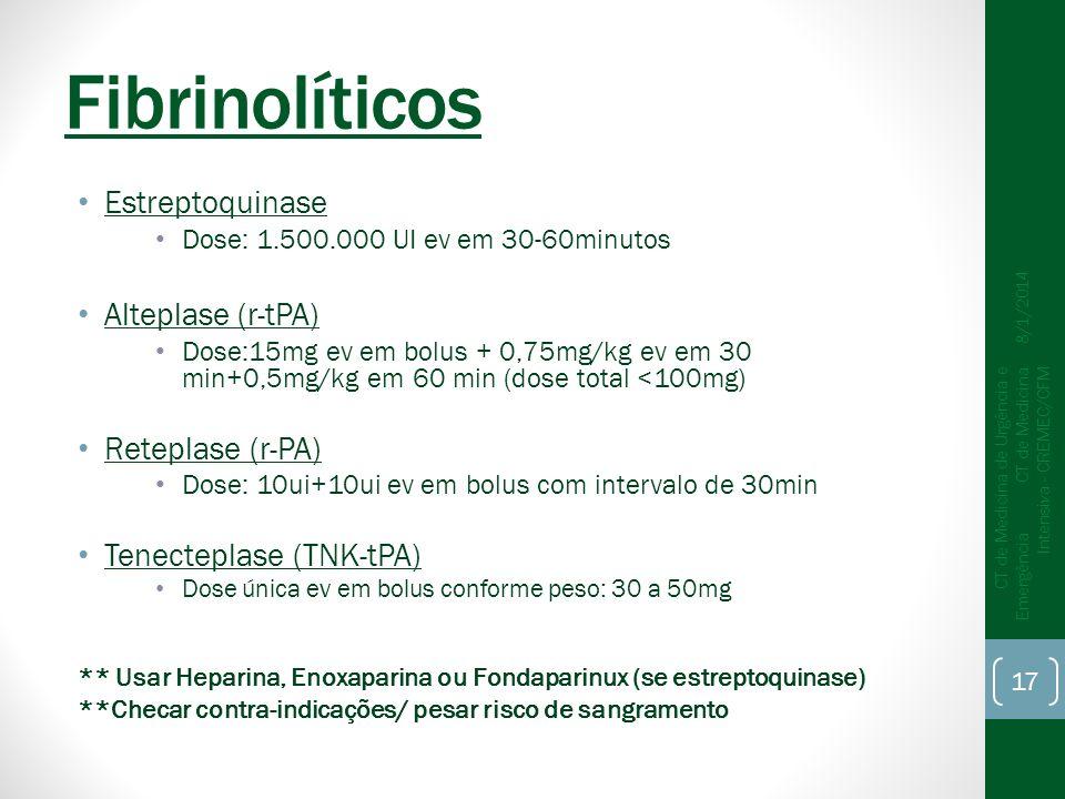 Fibrinolíticos Estreptoquinase Alteplase (r-tPA) Reteplase (r-PA)