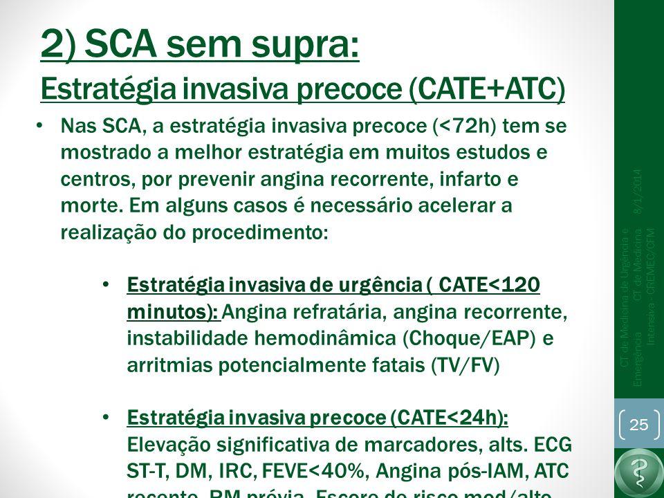2) SCA sem supra: Estratégia invasiva precoce (CATE+ATC)