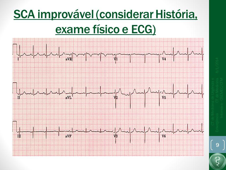 SCA improvável (considerar História, exame físico e ECG)