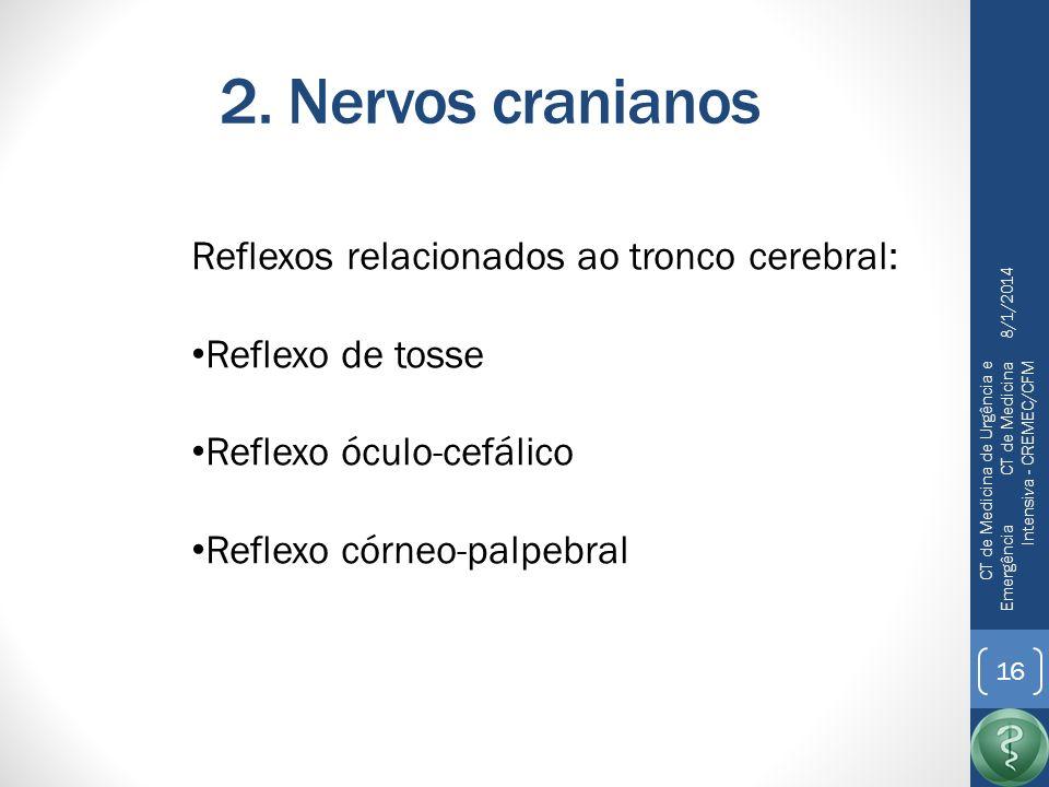 2. Nervos cranianos Reflexos relacionados ao tronco cerebral: