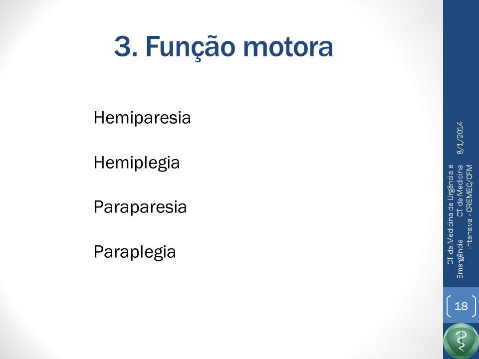 3. Função motora Hemiparesia Hemiplegia Paraparesia Paraplegia