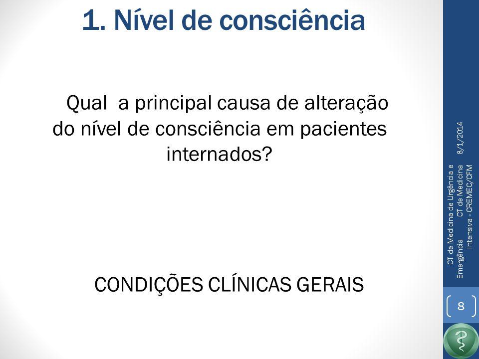 1. Nível de consciência Qual a principal causa de alteração do nível de consciência em pacientes internados