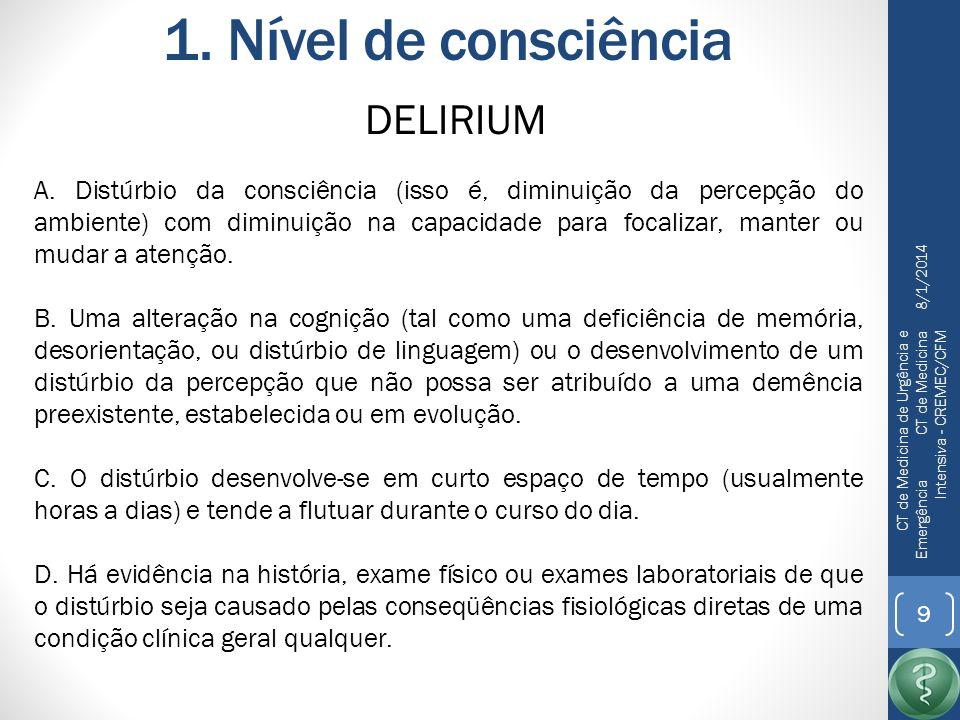 1. Nível de consciência DELIRIUM