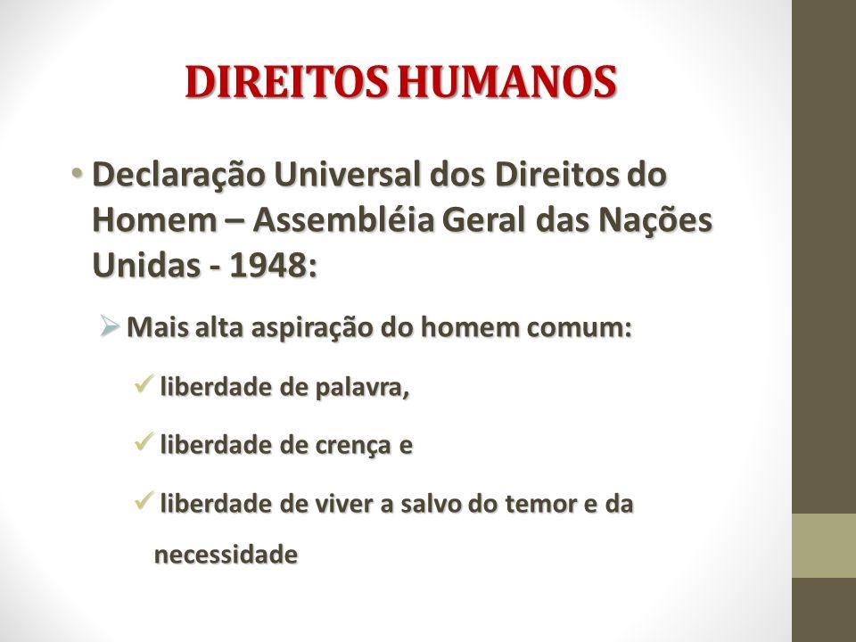 DIREITOS HUMANOS Declaração Universal dos Direitos do Homem – Assembléia Geral das Nações Unidas - 1948: